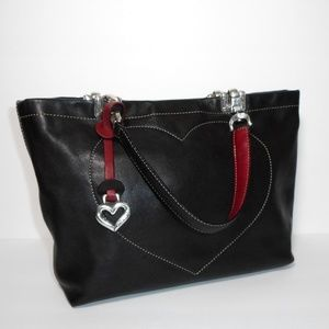Brighton Jodi Black Leather Heart Handbag